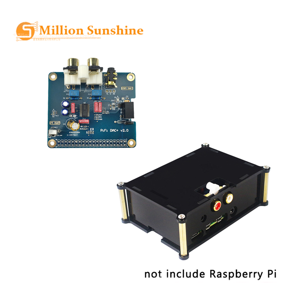 Raspberry Pi 4 Model B PiFi DAC+ V2.0 Sound Card Acrylic Case Audio Board Box Shell RPI129