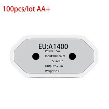 100 pcs/lot Original Quality Full 5V 1A A1400 EU PLUG USB Wall Charger AC Power Adapter for iphone iPad 7 6 6S 5S travel charger