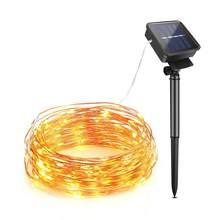 Fita led rgb alimentada por energia solar, de luz de fundo à prova d' água fio de cobre fita guirlanda decoração de casamento