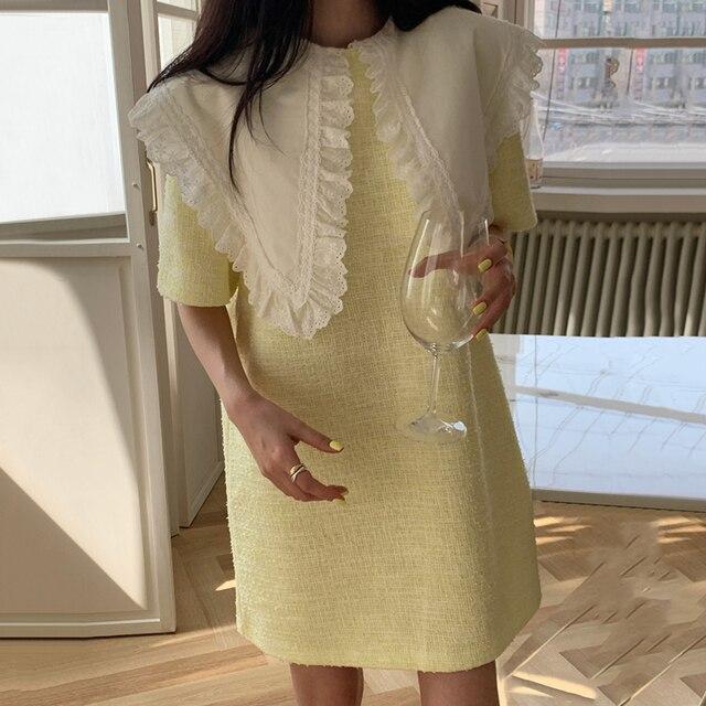 [EWQ] Women Green Patchwork Dress New Turn-down Collar Short  Sleeve Loose Fit Fashion Casual Tide Spring Summer 2021 16F0789 5