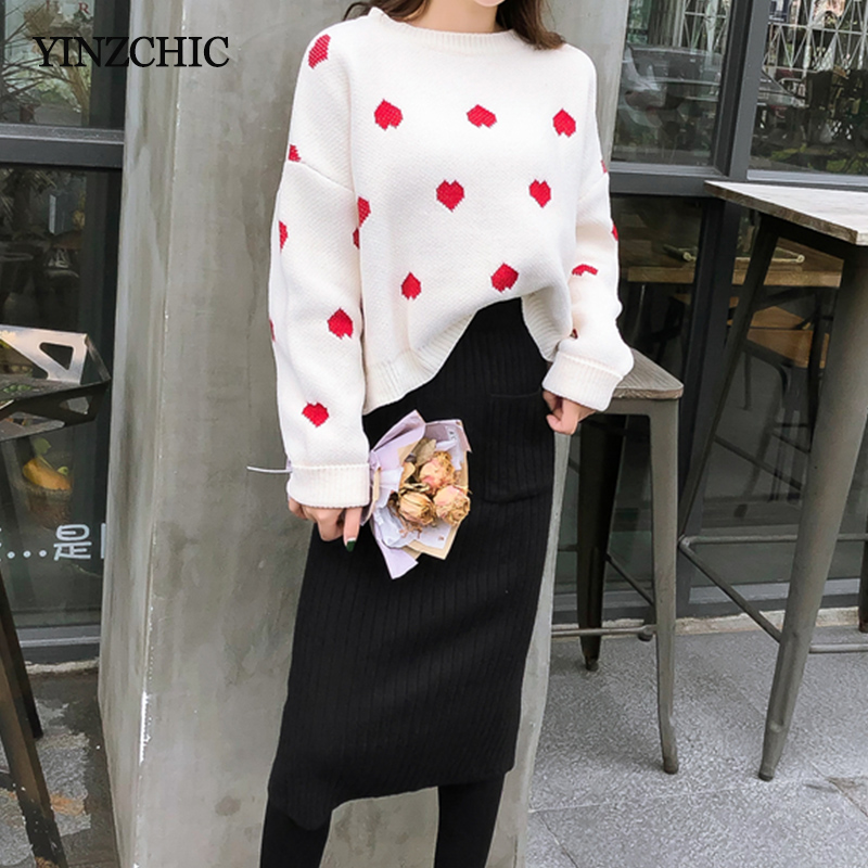 Woman Winter Knitted Two-pieces Suits Casual Female Loose Sweater Pencil Skirt Set Woman New Thick Warm Knit Suits For Woman