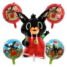 5 pçs/lote Foil Balões Dos Desenhos Animados do Coelho Animais Vermelho Preto Globos Balões Feliz Aniversário Decorações Do Partido Do Chuveiro Do Bebê