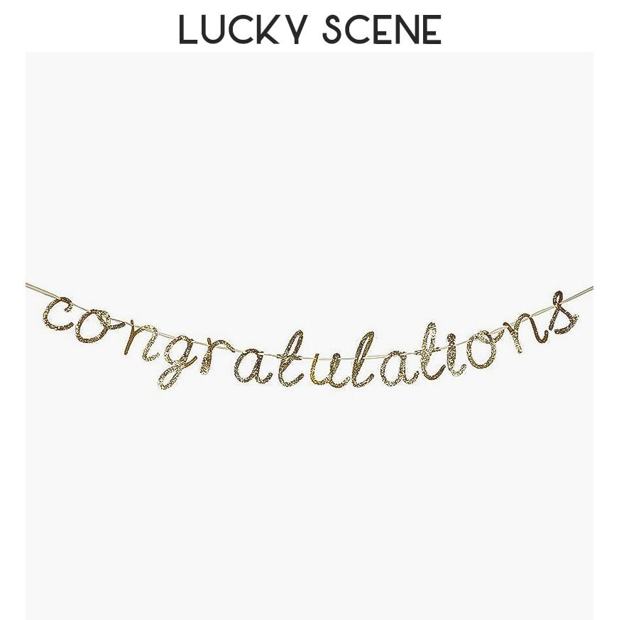 Congratulations Pull Flag Sparkle Gold Powder Graduation EngagementCeremony S00291