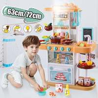 63cm/72cm Children Pretend Play Cooking Food Kitchen Toys Playset Cooking Table for Kids Boys Girls Christmas Gifts 36PCs 43PCs