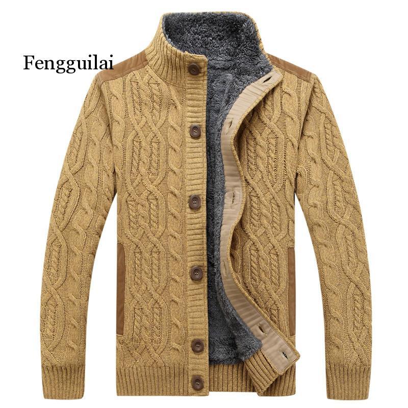 Black Sweater Men Winter Warm Thick Velvet Sweatercoat Single-breasted Casual Men Sweater Pattern Knitwear Cardigan Men