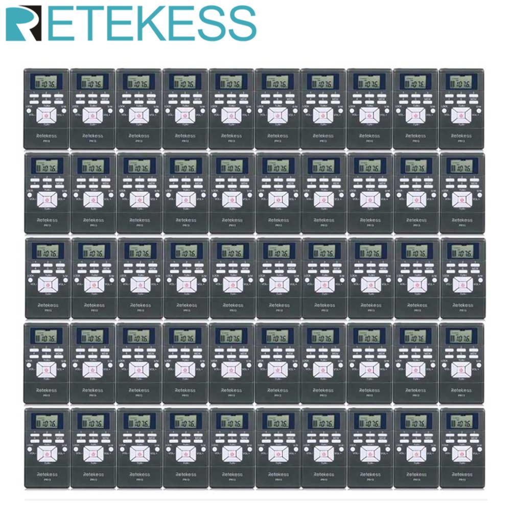 50 pçs retekess pr13 bolso receptor de rádio digital dsp fm estéreo mini portátil para orientação igreja conferência treinamento