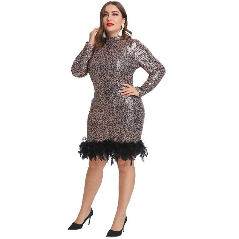 VITIANA נשים בתוספת גודל 5XL נצנצים המפלגה שמלת שומן נשים נוצות סקסי מפלגה שמלות Femme מיני Vestidos נקבה Clubwear