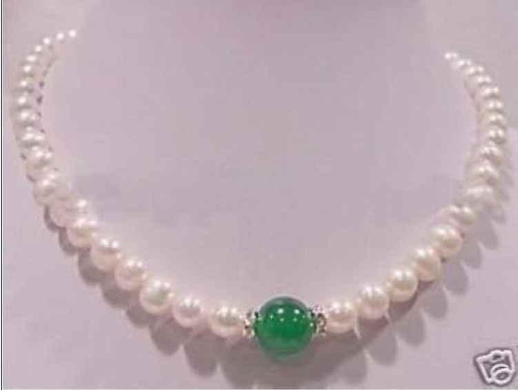 Gorąca sprzedaż bezpłatna wysyłka>> W & L nowy 7-8mm biały perłowy 10mm zielony naszyjnik z kamienia