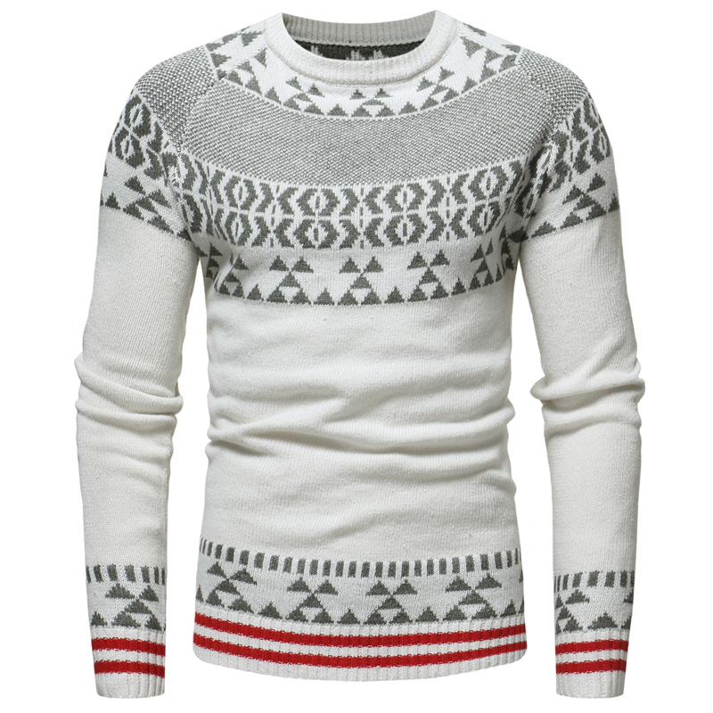 Sweater Spring And Autumn New Men's Casual Slim Jacquard / Christmas Snowflake Round Collar Knit Sweater Large Size S-XXXL