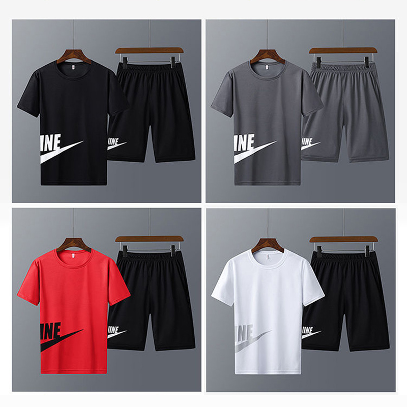 Men Running Sets Clothes New 2020 Youth Outdoor Sports Set Fitness Tee Shirts Male Gym T Shirt Shorts Quick Drying Sportswears