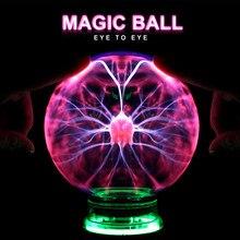 Bola de plasma mágica novidade, 3/4/5/6/Polegada luz noturna para natal crianças, presente, vidro, lâmpada de plasma, festa luzes de mesa para decoração