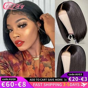 4x4 Lace Closure Short Bob Wig Human Hair Wigs Blunt Cut Bob Human Hair Wig Pre-Plucke Brazilian Straight Wig For Black Women 1