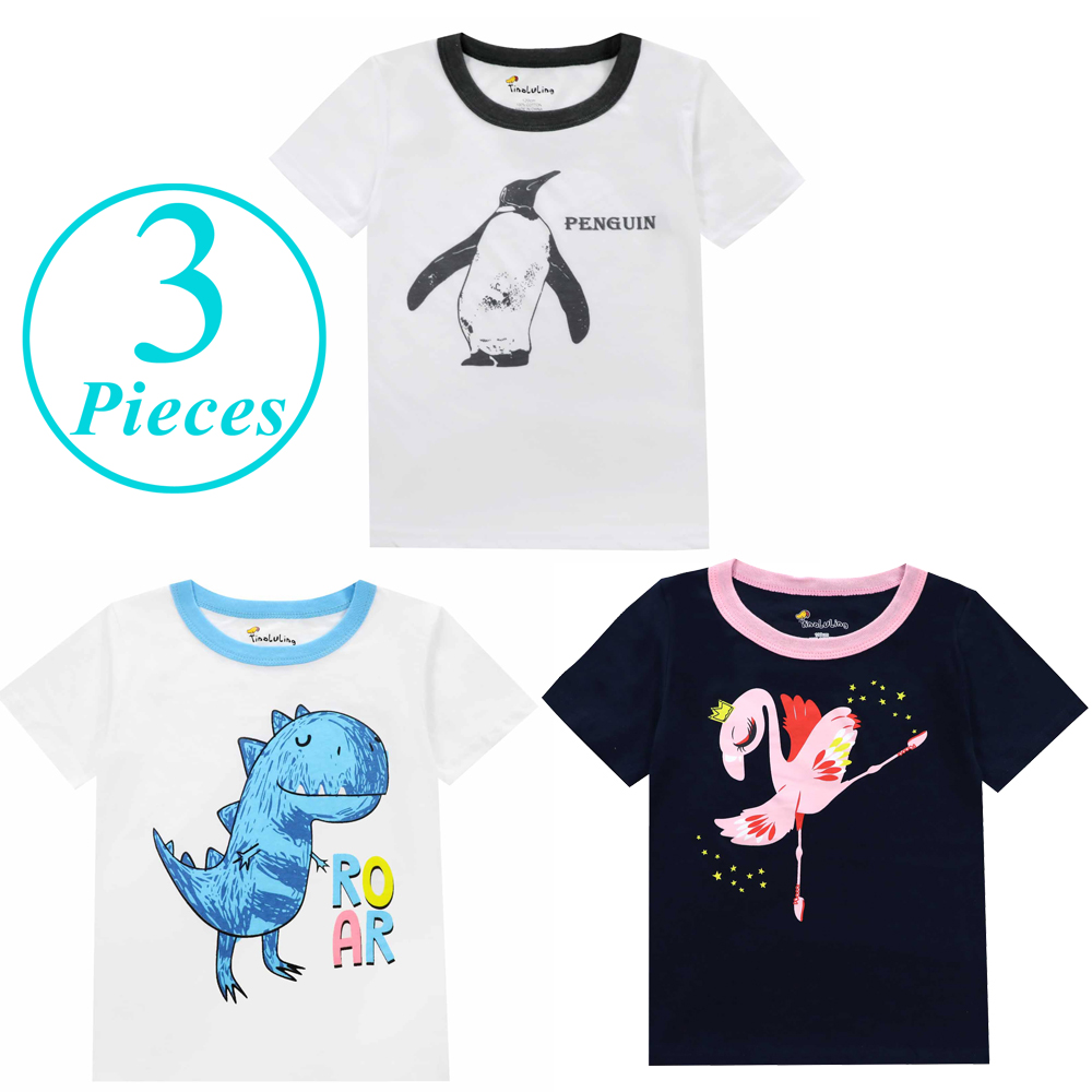 Crianças menina unicórnio animal pijamas meninos camiseta meninas t camisas crianças roupas de verão dinossauro dos desenhos animados traje azul branco t camisa