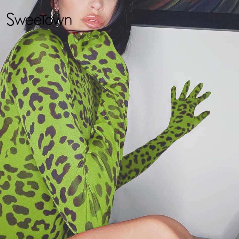 Sweetown Neon Leopard damskie Body z rękawiczkami Rave Body Mujer pajacyki z golfem z długim rękawem podstawowe Body jesień zima