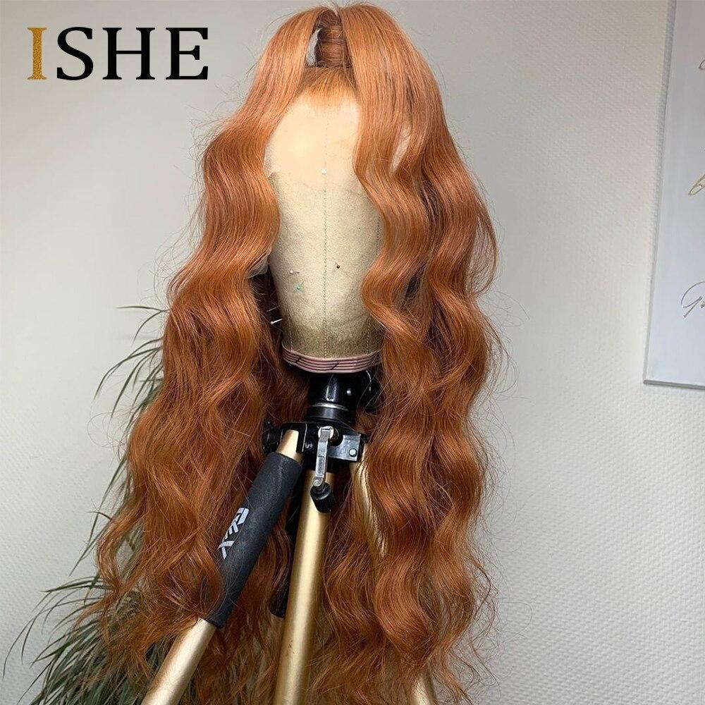 Laranja colorido perucas de cabelo humano 13x6