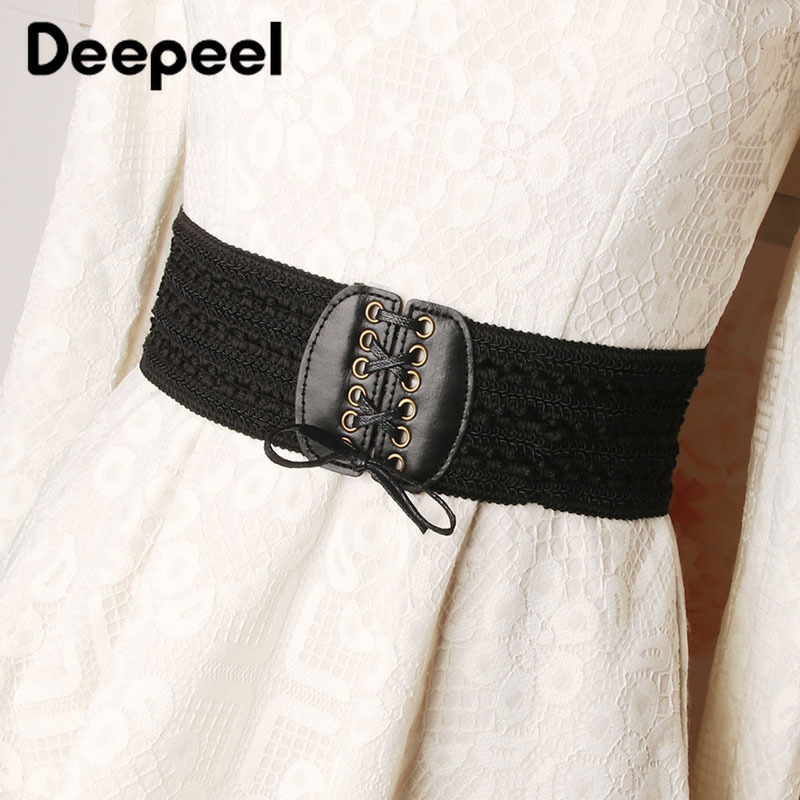 Deepeel 3pc 7*70cm Women's Lace Hige Waist Elastic Wide Cummerbund High Quality PU Accessories Retro Waistband With Dress YK741