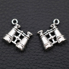 WKOUD 10pcs/Bulk Sale, Antique Silver 3D BINOCULARS Charm Pendant, Telescope Charm, Tibetan Tone, Jewelry Supply, 15*16mm
