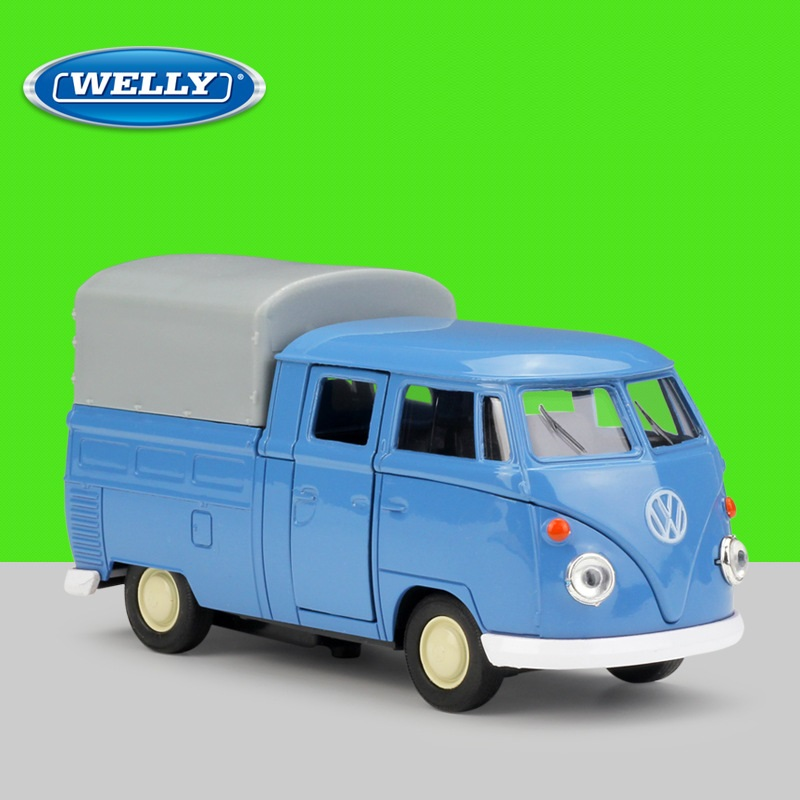 1:36 Welly VW T1 Double Cabin Pick Up Truck Alloy Toys Diecast Model Car