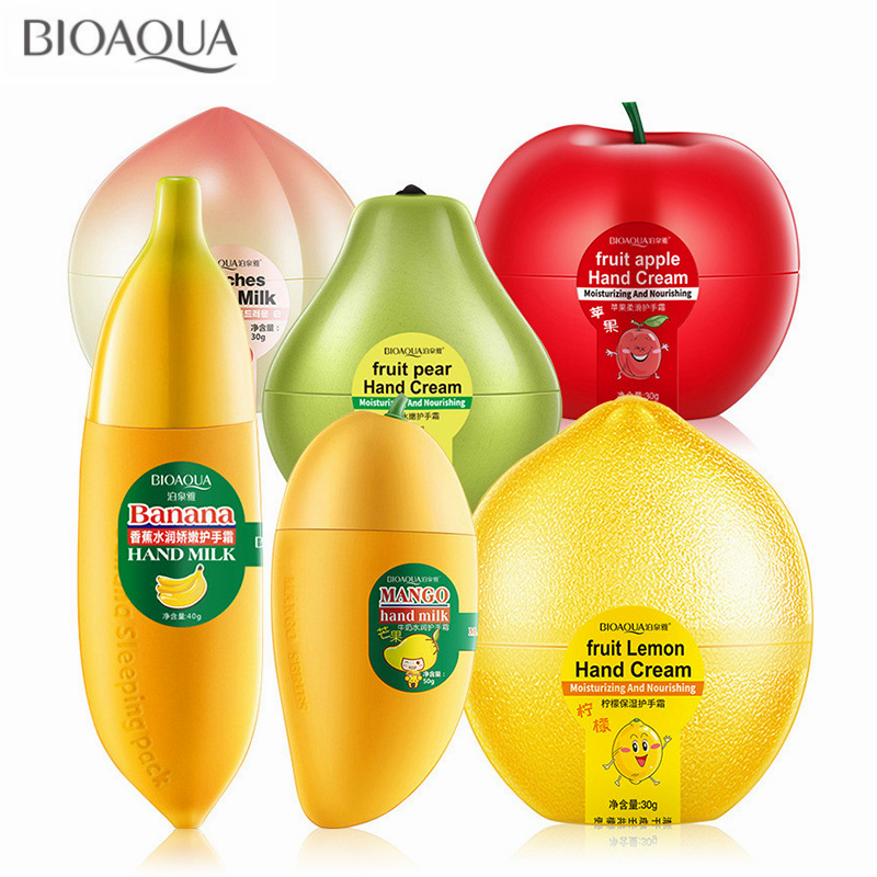 BIOAQUA Cute Peach Banana Mango Pear Lemon Whitening Moisturizing Fruit Hand Cream For Winter Hand Care Lotion Nourishing Skin