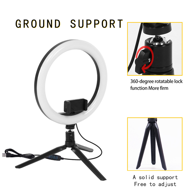 Table Ring Lamp 10 inch  LED Ring Light  Photography Photo Camera Lights with Tripod Holder for Smartphone Vlog Makeup