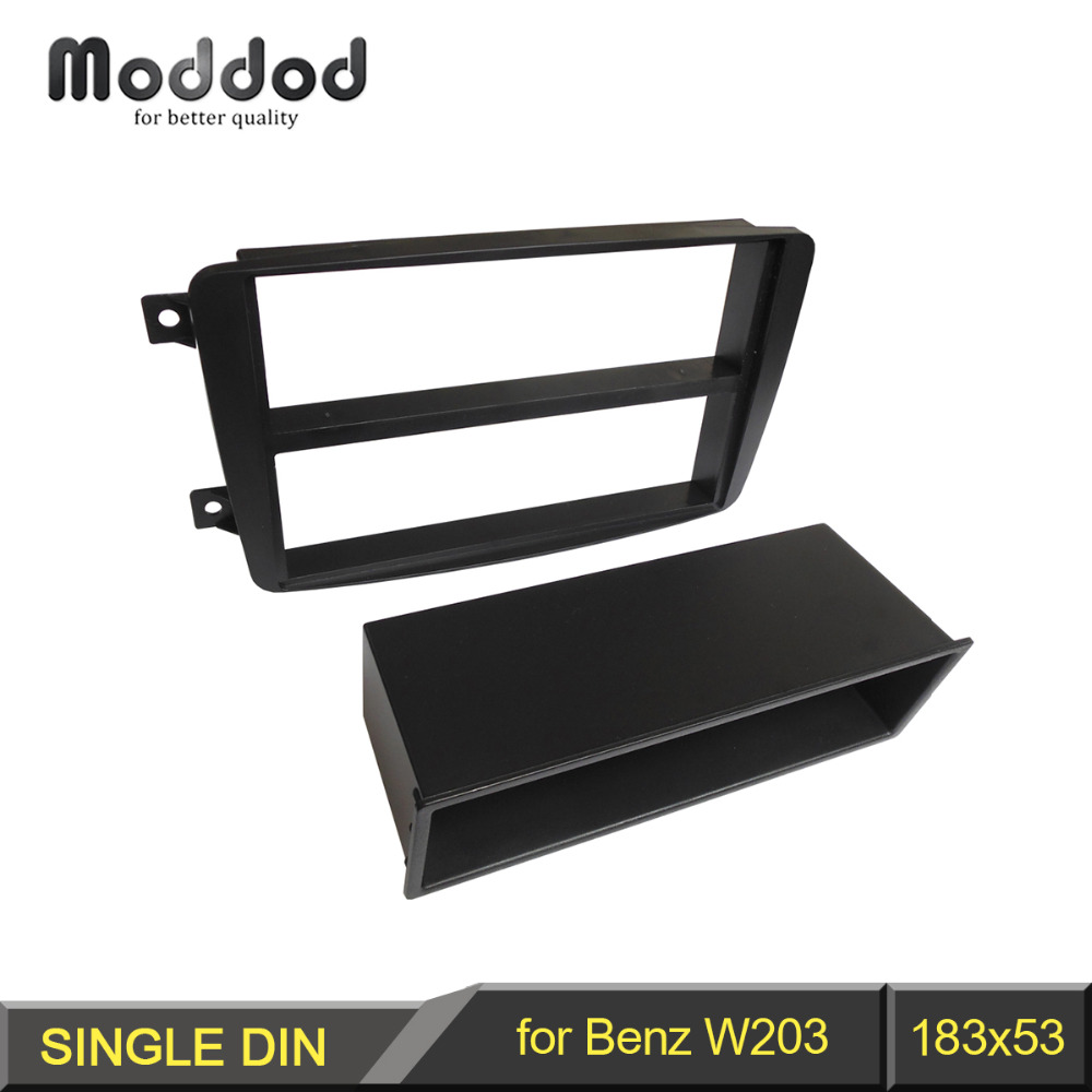 1 Din Fascia para BENZ clase C W203 Panel estéreo con bolsillo de almacenamiento CD DVD Kit de instalación de reacondicionamiento embellecedor marco facial