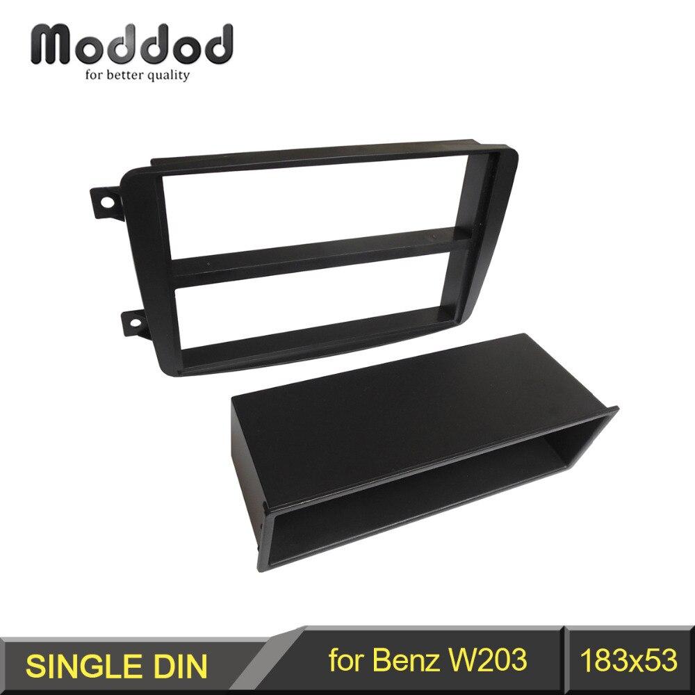 1 din fascia para benz classe c w203 estéreo painel com bolso de armazenamento cd dvd kit montagem instalação guarnição face frame