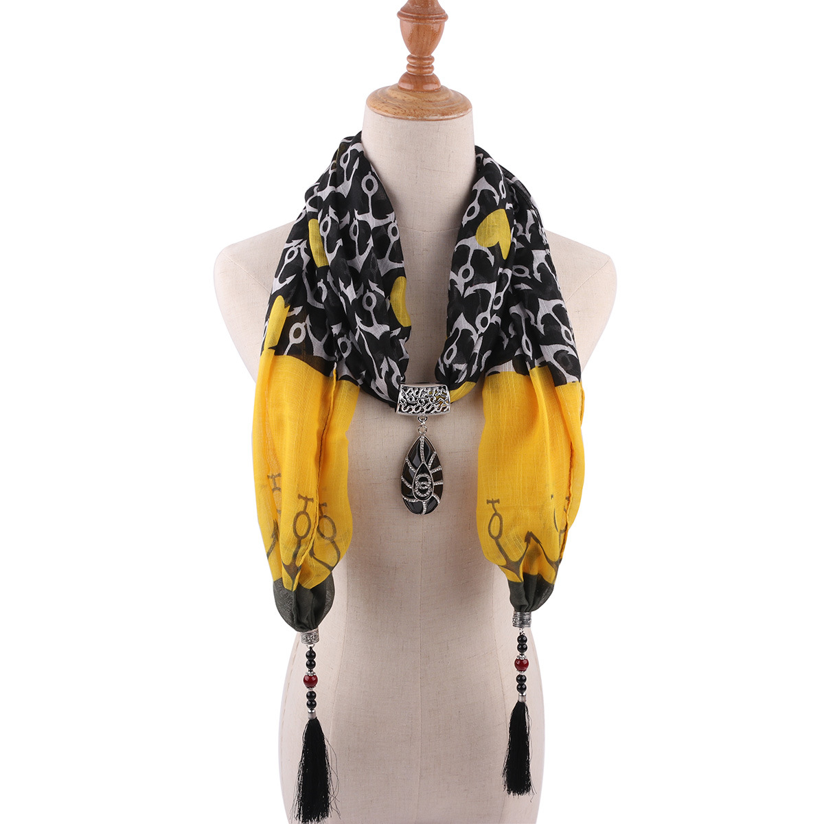 Leopard print tassel pendant  womens shawl necklace national style scarf Mongolian garment accessories 1840