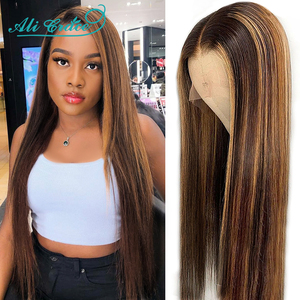 Ali Grace Hair Highlight Brown Lace Front Human Hair Wigs 13X4 Pre-Plucked Human Hair Lace Wig Ombre Straight Lace Front Wigs