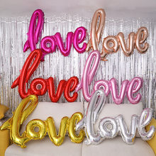 1pc LOVE Letter Foil Balloon Anniversary Wedding Photo Props Background Rose Gold Love Balloons Valentines Party Decoration(China)