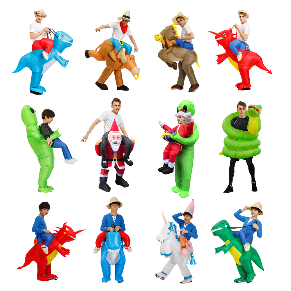 Adult Kids Cow Dinosaur Inflatable costume  Alien Santa Claus Anime Cosplay Costumes Halloween Christmas Party Jumpsuit Suit