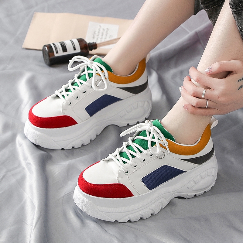 Women Platform Chunky Sneakers 5cm High Lace-up Casual Vulcanize Shoes Brand Designer Old Dad Female Fashion Sneakers 2020