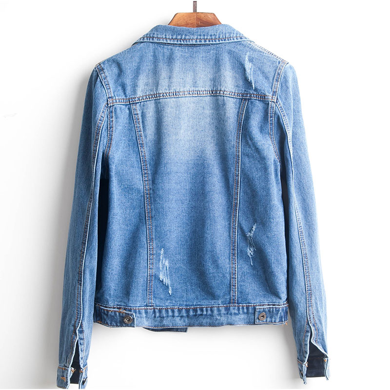 H615d600b034c4ce3b3634fa3b08891afG Plus Size Ripped Hole Cropped Jean Jacket 4Xl 5Xl Light Blue Bomber Short Denim Jackets Jaqueta Long Sleeve Casual Jeans Coat