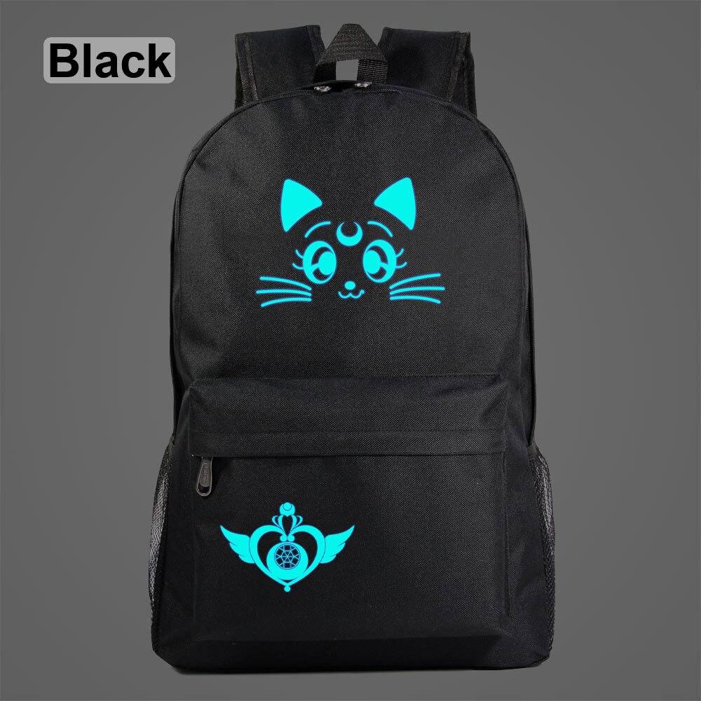 AL3801 Luminous Anime Kawaii Sailor Moon Luna Cat Boy Girl School Bag Teenagers Student Schoolbags Women Packsack Men  Backpack