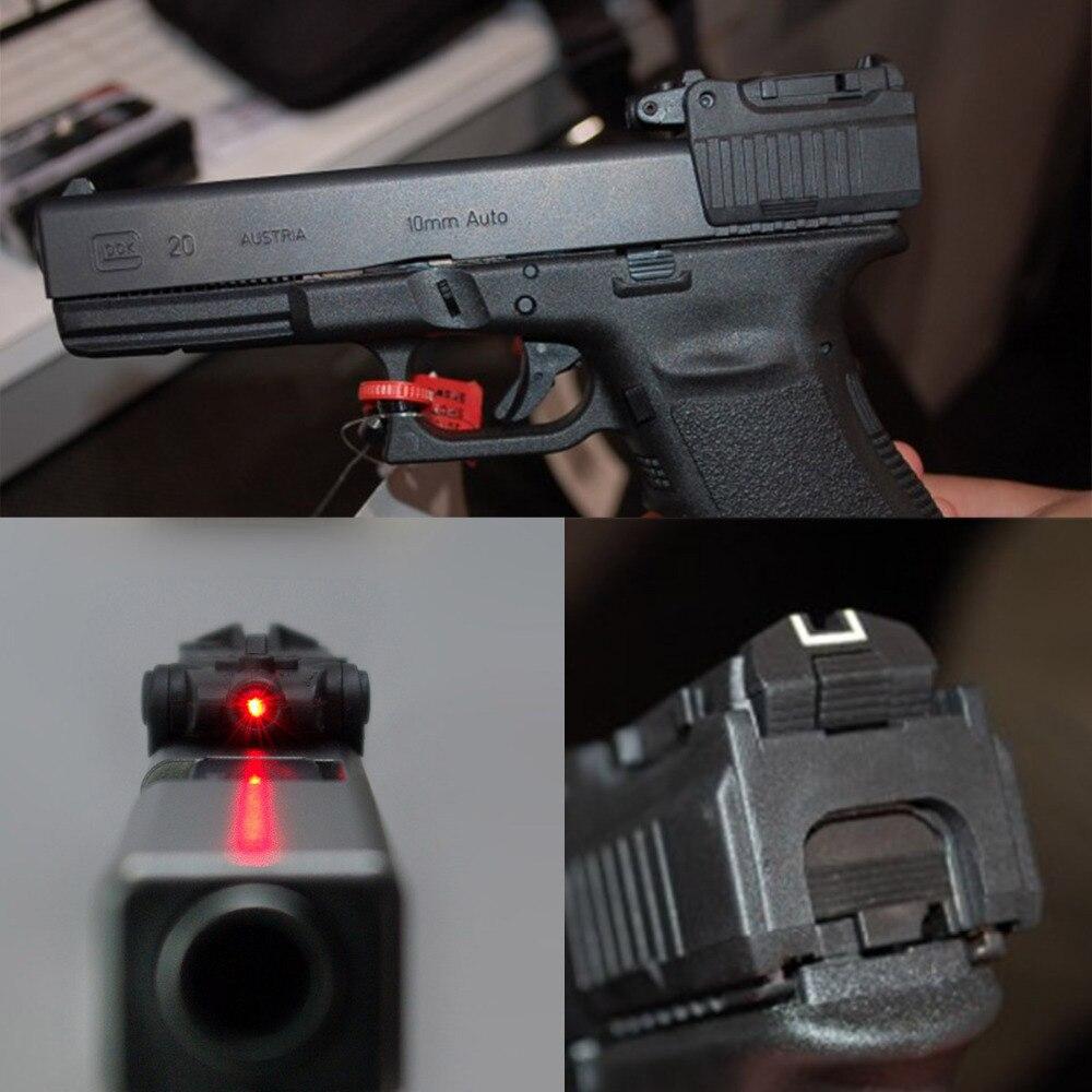 Táctico pistola láser rojo vista alcance para Airsoft Glock 17 19 22 23 25 26 27 28 31 32 33 34 35 37 38 de hierro vista trasera