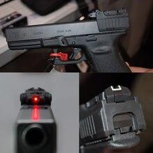 Taktyczne pistolet celownik z czerwonym laserem zakres dla Airsoft Glock 17 19 22 23 25 26 27 28 31 32 33 34 35 37 38 żelaza z przodu tyłu widok