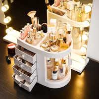Dressing Tabelle 4 Schublade Make-Up Halter Lagerung Box Transparent Rotation Fenster Lippenstift Organizer Für Kosmetik Pinsel Schmuck