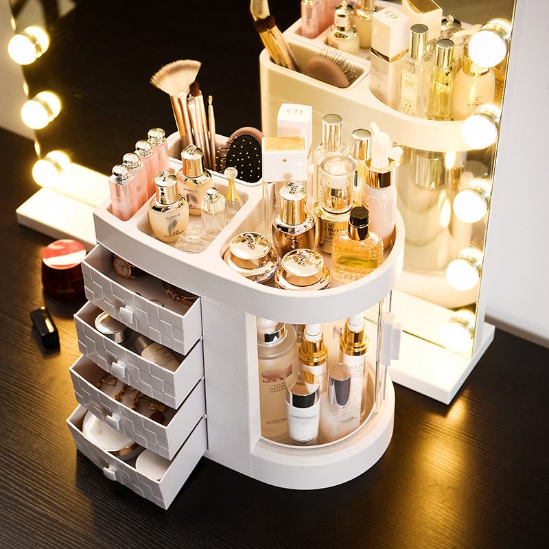 Dressing Table 4 Drawer Makeup Holder Storage Box Transparent Rotation Window Lipstick Organizer For Cosmetic Brush Jewelry