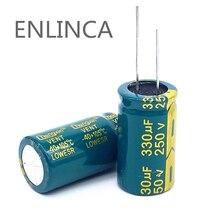 2 pçs/lote T27 alta freqüência de baixa impedância capacitor eletrolítico de alumínio 250v 330UF tamanho 18*35 330UF 20%