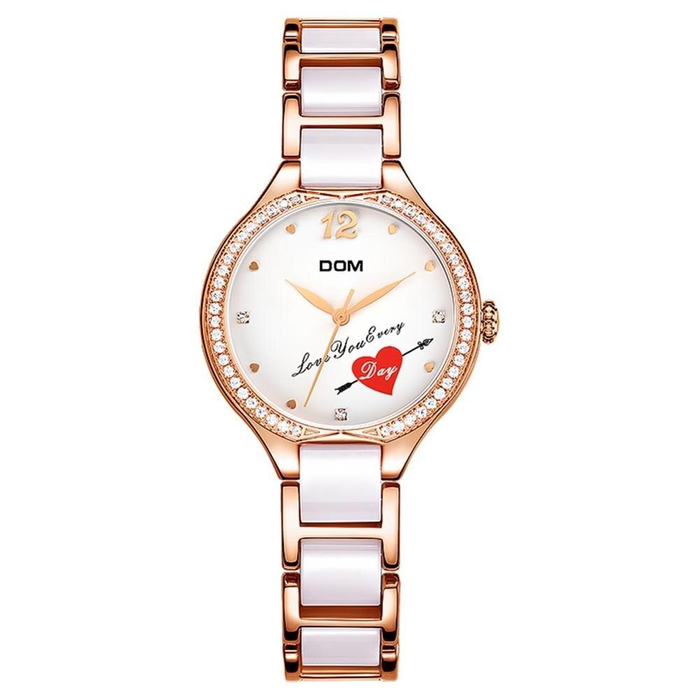 Dom moda feminina diamantes relógios de pulso cerâmica pulseira topo luxo marca vestido senhoras genebra quartzo relógio G 1271G 7MX|Relógios femininos| |  - title=