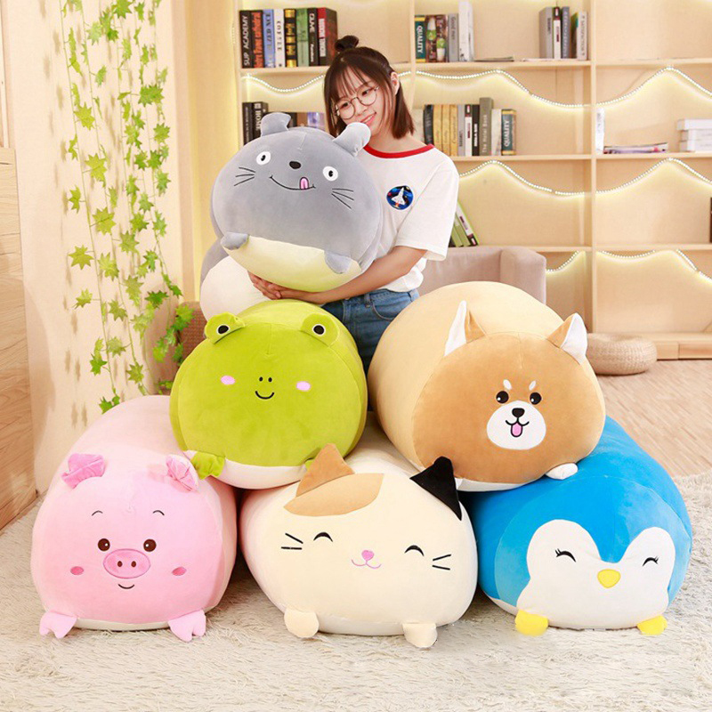 30/60/90cm Soft Animal Cartoon Pillow Cushion Cute Fat Dog Cat Totoro Penguin Pig Frog Plush Toy Kids Birthday Gift  Kawaii