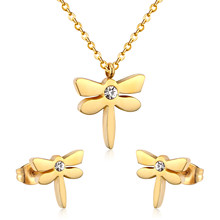 LUXUKISSKIDS Perhiasan Set Dragonfly Pernikahan Emas Stainless Steel Kalung Anting-Anting Dubai India Perhiasan Set untuk Gadis Wanita(China)