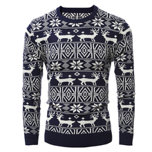 MJARTORIA Christmas Style Autumn Winter Pullover Sweater Mens Deer Printed Long Sleeve Sweaters Male Thicken Warm Tops