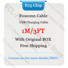 10pcs lot aaaaa quality aluminum mylar sync data cable 2m 6ft usb charging cable for foxconn phone with new packaging 10pcs/lot Original E75 Chip OD3.0mm 1m/3ft Data USB Sync Charging Cable For Foxconn Phone With Green Label New Box