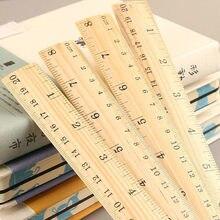 1 sztuk prosty styl 15cm 20cm 30cm drewniane proste linijka kwadratowa linijka śliczne papiernicze materiały do rysowania szkolne materiały biurowe