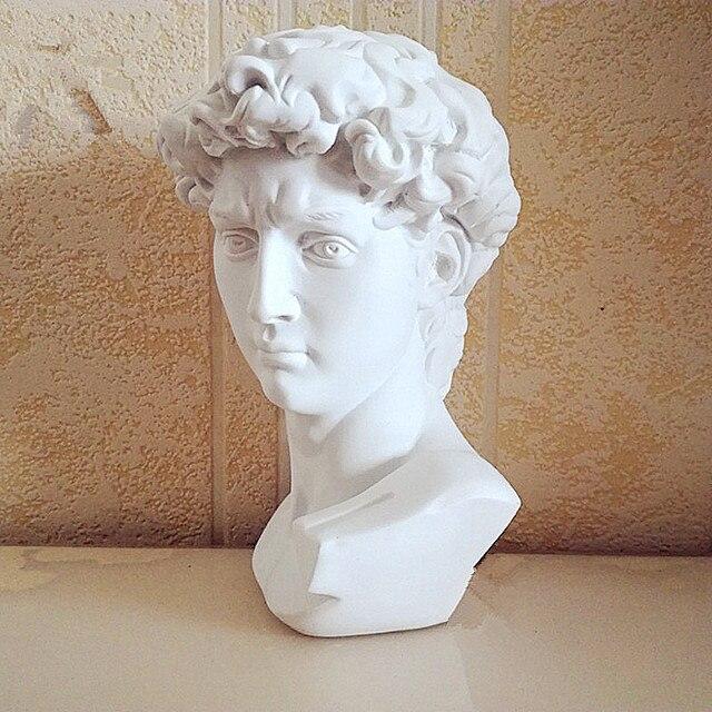 15cm David Statue Head Portraits Mini Gypsum Michelangelo Home Decoration Resin Art Craft Sketch Practice Room Decor sculpture 5