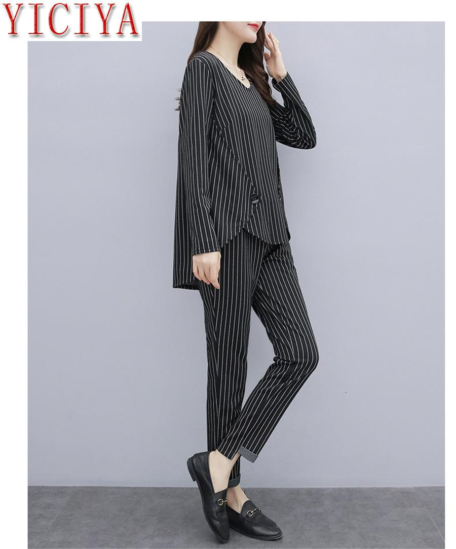 H615e3dbcab504817a3fe0a1056002359j - Striped 2 Piece Set Tracksuits Outfits for Women Plus Size Large Matching Co-ord Winter Clothes 2piece Cotton Linen high quality