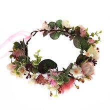 Handmade Flowers Crown Festival Headband Women Hair Accessories Headdress Bridesmaid Girl Floral Garland Wedding Floral Headwear