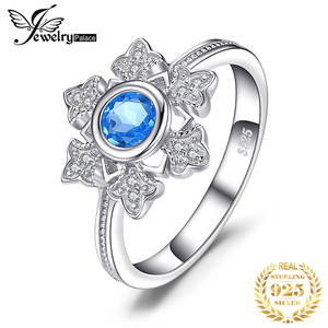 Image 1 - JewelryPalace Snowflake 0.6ct Genuine  Blue Topaz Cocktail Ring 925 Sterling Jewelry for Women Fashion Jewelry Elegant Gift