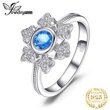 Jewelrypalace Снежинка 0.6ct натуральной голубой топаз коктейльное кольцо 925 украшений для Для женщин Модные украшения элегантный подарок 2017