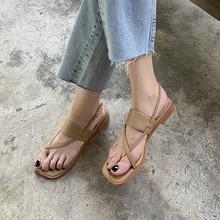 Summer 2020 new fashion retro style Roman sandals tide wild low-heel buckle thin belt square head clip toe Z913